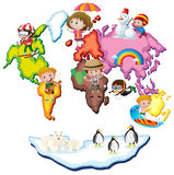 World map with kids and animals. Illustration Stock Image