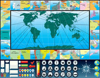 World Map Kit. World Map and Variety Graphic Elements Stock Photos