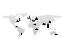 World map with landmarks vector Royalty Free Stock Photo