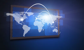 World map on large electronic screen Stock Photos