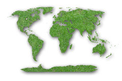 World map Laterite on green moss background. Royalty Free Stock Images