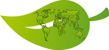 World map on a leaf Royalty Free Stock Photo
