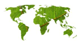 World map with leaf texture Stock Image