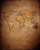 World map on leather background Stock Photography