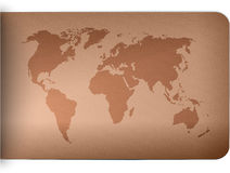 World map on leather texture background Stock Images