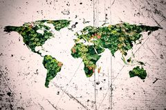 World map and leaves. Conceptual image of flat world map and leaves. NASA flat world map image used to furnish this image royalty free stock photos