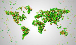 World Map leaves particles 3D. Digital art Royalty Free Stock Photos