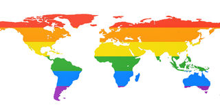 World map with LGBT flag, 3D rendering Stock Images