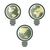 World map in light bulb  Royalty Free Stock Photos