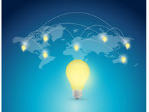 World map light bulb illustration design Royalty Free Stock Photos