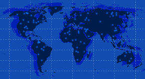 World map with lights Stock Photos