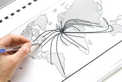 World map with lines Stock Photo
