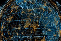 World map and lines. Concept of global business. Global network connection. World map and lines. Concept of global business. 3D illustration Stock Photography