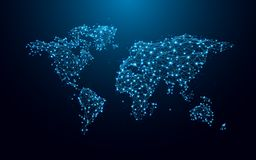 World map from lines and triangles, point connecting network on blue background. Illustration vector stock illustration
