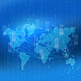 World map with links and circles located on a blue Royalty Free Stock Images