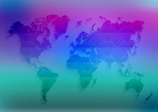 World map is located a colorful turquoise and Stock Photo