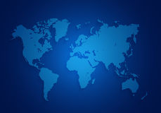 World map located on a dark blue background. Royalty Free Stock Image