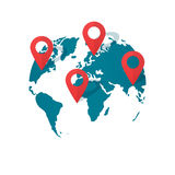 World map location pins vector, global gps transportation geo pointer Royalty Free Stock Photo
