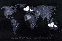 World map with love-themed icons across continents Stock Photo