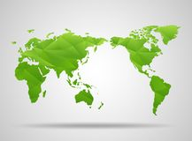 World map. Low poly design. Green origami planet Stock Photos