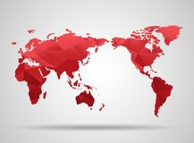 World map. Low poly design. Red origami planet Stock Photos