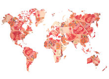 World map made from Chinese yuan Stock Images