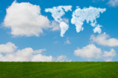 The world map made of clouds in nature concept. World map made of clouds in nature concept Stock Photos