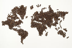 World map made from coffee bean Stock Photography