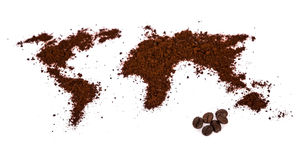 World map made of coffee Royalty Free Stock Image