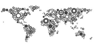 World map made of cogs and wheels Royalty Free Stock Photos