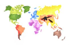 The world map is made with colored watercolor paints on white paper with the participation of a black toy gun and a knife. The con stock images