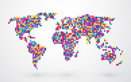 World map made of different squares Royalty Free Stock Photography