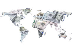 The world map made with dollar bills Stock Image