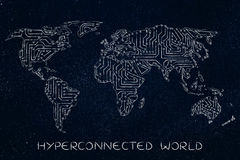 World map made of electronic microchip circuits Royalty Free Stock Image