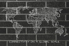 World map made of electronic microchip circuits Stock Photo