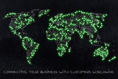 World map made of electronic microchip circuits led lights vers Royalty Free Stock Photo