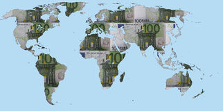 World Map Made Of Euro Banknotes. World map of Euro banknotes illustrating the dependence of the global economic from the European currency Royalty Free Illustration