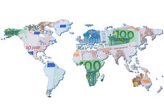 The world map made with euro bills Royalty Free Stock Photography