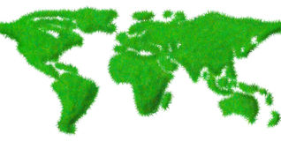 World map made ??of grass Stock Photos