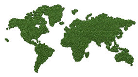 World map made of green grass Royalty Free Stock Image