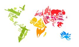World map made of landmarks stock photography
