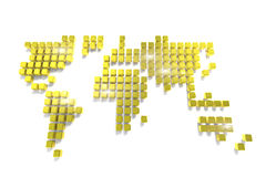 World map made of many golden cubes. Over white background. 3d render Royalty Free Stock Photos