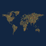 World map made out with stars of different sizes in flat style. World map with yellow and orange stars illustration on blue background Royalty Free Stock Photos