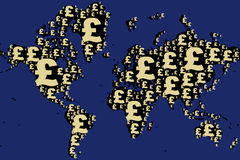 World map made with pound sign Stock Photo