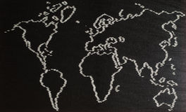 Black and White map of World Royalty Free Stock Photo
