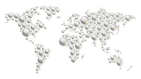 World map made of round shapes Stock Photos