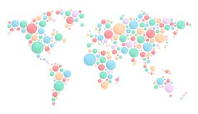 World map made of round shapes Stock Photo