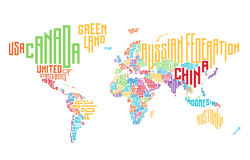 World map made of typographic country names Royalty Free Stock Image