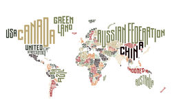 World map made of typographic country names Royalty Free Stock Photo