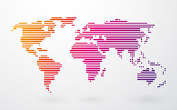 World map made up of colored stripes Stock Photos